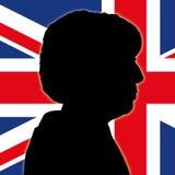 Silhueta e retrato de Theresa May com bandeira de Reino Unido Fotografia de Stock Royalty Free