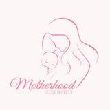 Silhueta elegante da mãe e do bebê em um estilo linear do esboço Fotografia de Stock