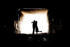 Silhueta em um túnel Foto de Stock Royalty Free