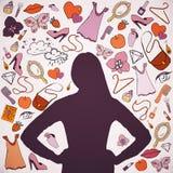 Silhueta escura da mulher com material fêmea Foto de Stock