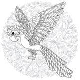 Silhueta estilizado do papagaio da selva da cacatua da fantasia do vetor ilustração stock