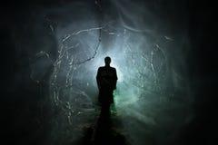 Silhueta estranha em uma floresta assustador escura na noite, luzes surreais da paisagem místico com homem assustador toned imagem de stock