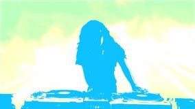 Silhueta fêmea DJ que mistura na plataforma de registro ilustração royalty free