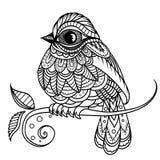 Silhueta fabulosa do preto do pardal nas flores Ilustração imagem de stock royalty free