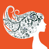 Silhueta floral da mulher elegante Imagens de Stock Royalty Free