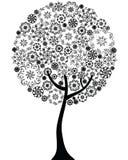 Silhueta floral do esboço da árvore Fotos de Stock Royalty Free