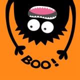 Silhueta gritando da cabeça do monstro Boo Text Dois olhos, dentes, língua, mãos Suspensão de cabeça para baixo Bebê bonito engra Fotografia de Stock Royalty Free