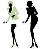 Silhueta ilustrada de uma secretária 'sexy' Ilustração do Vetor