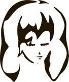 Silhueta isolada estilizado da sombra da cara dos gerls na ilustração branca do fundo ilustração do vetor