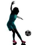 Silhueta isolada jogador da criança da menina do adolescente Fotografia de Stock