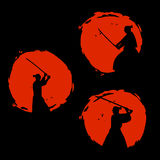 Silhueta japonesa dos guerreiros do samurai Ilustração do vetor Foto de Stock