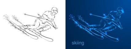 Silhueta linear do desenho o atleta em esquis ilustração stock