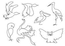 Silhueta linear dos pássaros do esboço Imagens de Stock Royalty Free