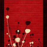 Silhueta Long-stemmed da flor do prado no vermelho Foto de Stock Royalty Free