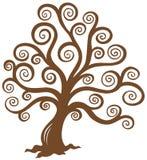 Silhueta marrom estilizado da árvore Imagens de Stock