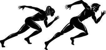 Silhueta masculina e fêmea do corredor da velocidade Fotografia de Stock Royalty Free
