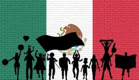 Silhueta mexicana do suporte na frente da parede de tijolo com México ilustração royalty free