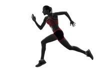 Silhueta movimentando-se do basculador running do corredor da mulher imagens de stock