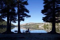 Silhueta no lago Tenaya Foto de Stock Royalty Free