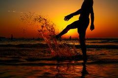 Silhueta no por do sol Imagem de Stock
