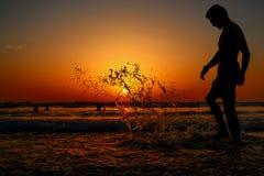 Silhueta no por do sol Foto de Stock Royalty Free
