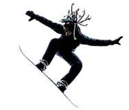 Silhueta nova do homem do snowboarder Fotos de Stock