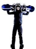 Silhueta nova do homem do snowboarder Imagens de Stock Royalty Free