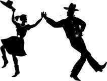 Silhueta ocidental da dança do país ilustração do vetor