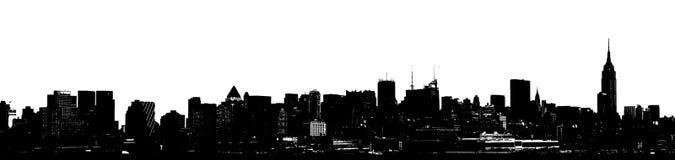 Silhueta panorâmico da skyline de New York Fotos de Stock