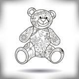 Silhueta pintada brinquedo do urso isolada no branco Imagens de Stock
