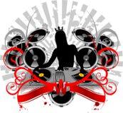 Silhueta, plataforma giratória, som e curvas da menina. ilustração royalty free