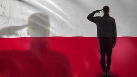Silhueta polonesa do soldado que sauda contra a bandeira nacional, forças da defesa aérea vídeos de arquivo