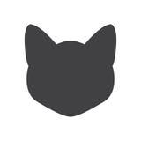 Silhueta preta da cabeça do gato em um fundo branco Ilustração do vetor Foto de Stock