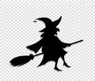 Silhueta preta da mosca da bruxa no cabo de vassoura no fundo transparente ilustração do vetor