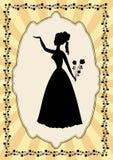 Silhueta preta da senhora no quadro do vintage com motivo da flor no estilo do art deco Imagem de Stock