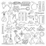 Silhueta preta de símbolos científicos Arte da química e da biologia Grupo de elementos do vetor da educação ilustração stock