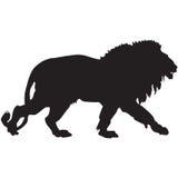 Silhueta preta de um leão Fotos de Stock Royalty Free