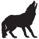 Silhueta preta de um lobo Imagens de Stock