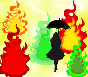Silhueta preta de uma menina com um guarda-chuva no fundo abstrato Imagens de Stock