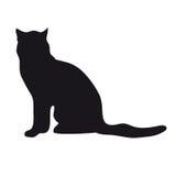 Silhueta preta do gato Fotos de Stock Royalty Free