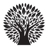 Silhueta preta do logotipo da árvore Foto de Stock Royalty Free