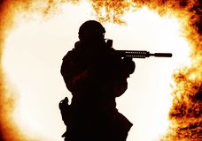 Silhueta preta do soldado Imagem de Stock