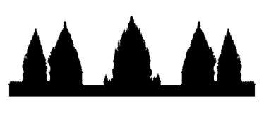 Silhueta preta do templo hindu velho de Prambanan ilustração do vetor
