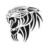 Silhueta preta do tigre em um fundo branco Fotos de Stock Royalty Free