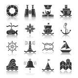 Silhueta preta náutica com grupo do ícone da reflexão ilustração do vetor