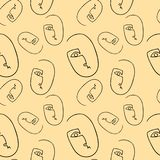 Silhueta preta no fundo bege Caras minimalistic na moda ilustração stock