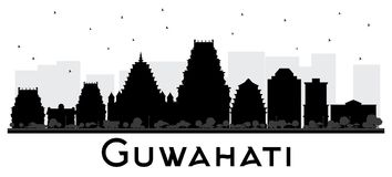 Silhueta preto e branco da skyline da cidade da Índia de Guwahati Fotos de Stock Royalty Free