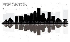 Silhueta preto e branco da skyline da cidade de Edmonton com reflexão ilustração do vetor