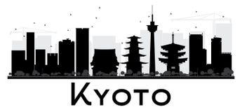 Silhueta preto e branco da skyline da cidade de Kyoto ilustração royalty free