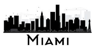 Silhueta preto e branco da skyline da cidade de Miami ilustração royalty free